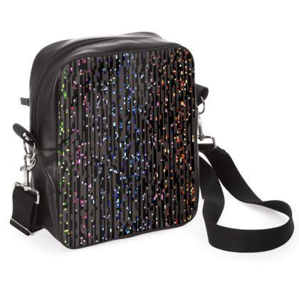 Cabaret Night - Shoulder Bag - iridescent rainbow lurex, glitter black, sparkling sparks, scintillant, glamorous sheen, brilliant chic, Bohemian gift, spectacular, magical - design by Tiana Lofd