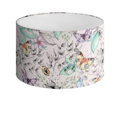Watercolour Butterflies Drum Lamp Shade