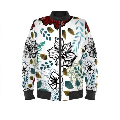 Wild Red Flowers Bomber Jacket