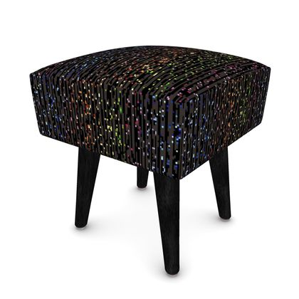 Cabaret Night - Square Footstool- glitter black, sparkling sparks, scintillant, rainbow gift, iridescent, lurex, glamorous sheen, brilliant chic, Bohemian, spectacular, magical - design by Tiana Lofd