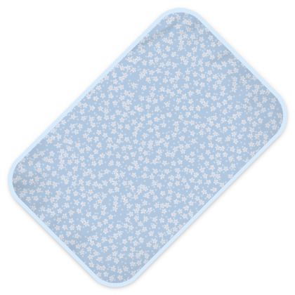 Forget-me-not - Baby Changing Mats - Spring floral, vintage granny chic, blooming white blue flowers, lovely, light, delicate, fine Boho-flowered gift - design by Tiana Lofd