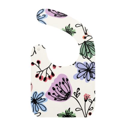 Wild flowers - Baby Bibs - floral, large scale, hand drawing, colored spots, graphical, artistic, botanical, blossom, blooming plants, summer gift - design by Tiana Lofd
