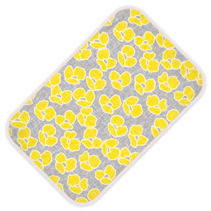 Sun poppies - Baby Changing Mats - Large yellow flowers, gray flax, trendy, bright gift, summer, blooming, floral, gray flax - design by Tiana Lofd