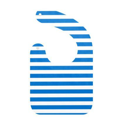 Vacation by the sea - Baby Bibs - Horizontally striped, white and blue stripes, marine, resort, coast, beach, classic, elegant gift, seaside vacation, sea, maritime - Design by Tiana Lofd