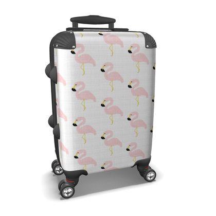 Suitcase Flamingos
