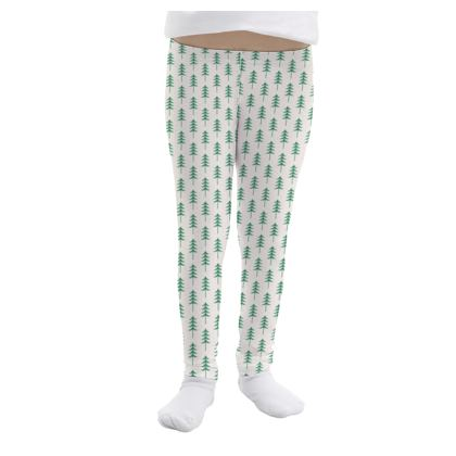 Girls Leggings - Take a hike - Woods, ecological, eco friendly gift, light, green and white, spruce forest, fir-trees, natural, nature, elegant, wildlife, minimalist - design by Tiana Lofd