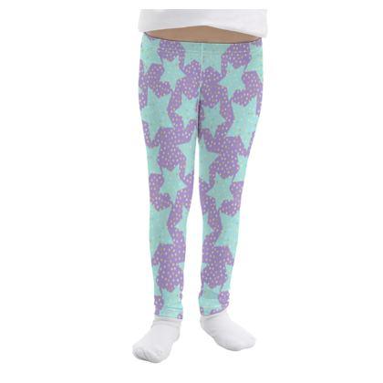 Luck Star - Girls Leggings - starry sky, lovely, soft, geometric, Turquoise, purple, lilac, gentle baby pattern nursery, kids stuff - designed by Tiana Lofd