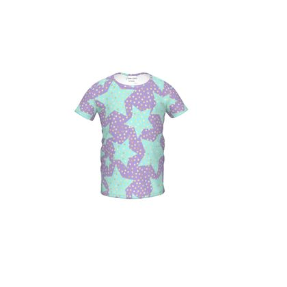 Luck Star - Girls Premium T-Shirt - starry sky, lovely, soft, geometric, Turquoise, purple, lilac, gentle baby pattern nursery, kids stuff - designed by Tiana Lofd