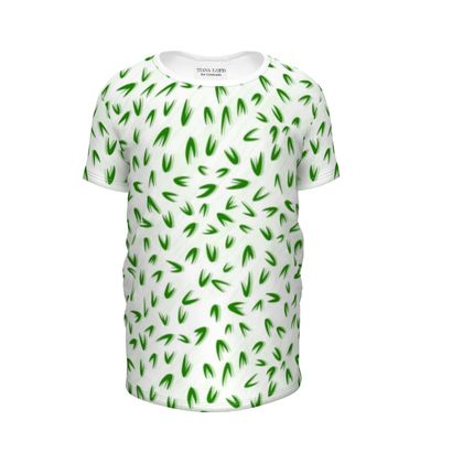 Abstract Spring freshness - Girls Premium T-Shirt - Simplicity and refined, green and white, leaves, light, floral, natural, grassy, fine, elegant gift - design by Tiana Lofd