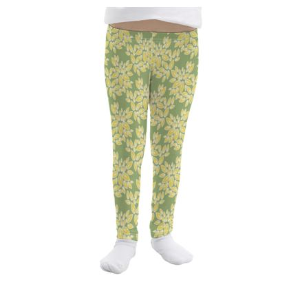 Leaf lace - Girls Leggings - floral, yellow green leaves, pistachio, lime lemon blossom, spring burgeon, fresh, nature, greenery, summer gift - design by Tiana Lofd