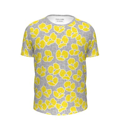 Sun poppies - Girls Premium T-Shirt - Large yellow flowers, gray flax, trendy, bright gift, summer, blooming, floral, gray flax - design by Tiana Lofd