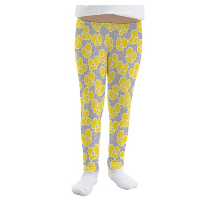 Sun poppies - Girls Leggings - Large yellow flowers, gray flax, trendy, bright gift, summer, blooming, floral, gray flax - design by Tiana Lofd