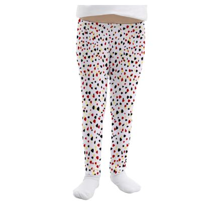 I do not care -Girls Leggings - abstract, bright strokes, colored dots, paint spots, expressive, light, simple, fresh, playful, cheerful, daring gift - design by Tiana Lofd