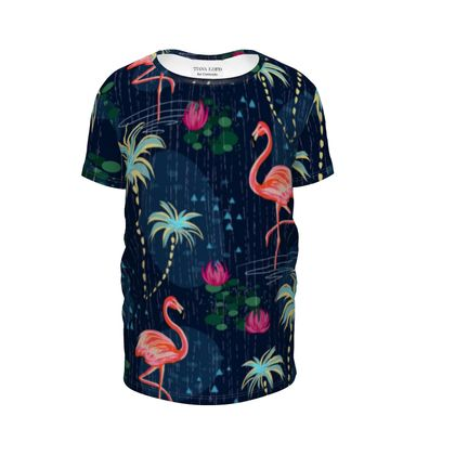 Pink flamingo -Girls Premium T-Shirt - tropical rain, palms, dark blue, navy, exotic, Bohemian, whimsical, resort, beach, bright, jungle, travel - design by Tiana Lofd
