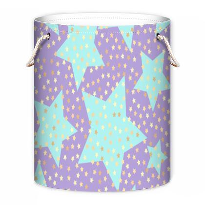 Luck Star - Laundry Bag- starry sky, lovely, soft, geometric, Turquoise, purple, lilac, gentle baby pattern nursery, kids stuff - designed by Tiana Lofd