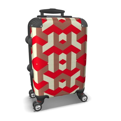 Heart in a cube - Suitcase - Abstract geometry, red, contrasting, bright, elegant, statement, futuristic, spectacular, graphic, noble, asymmetrical, effective, stylish gift - design by Tiana Lofd