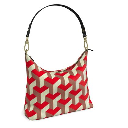 Heart in a cube - Square Hobo Bag - Abstract geometry, red, contrasting, bright, elegant, statement, futuristic, spectacular, graphic, noble, asymmetrical, effective, stylish gift - design by Tiana Lofd