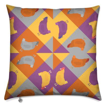 Chickens Pixel Pattern - Version 1b - Cushions