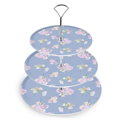 Cake Stand, Blue, Mauve, Floral  My Sweet Pea  Blue Bliss