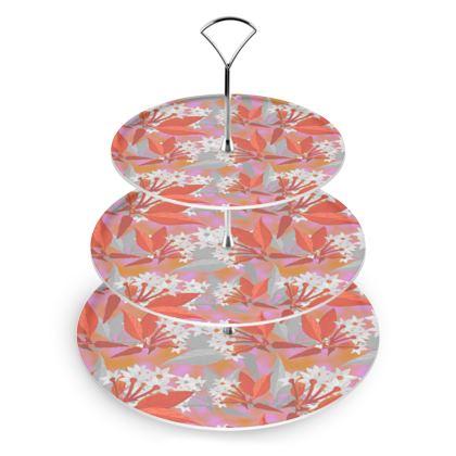 Cake Stand, Orange, Pink, Flower  Jasmine  Warm Spice