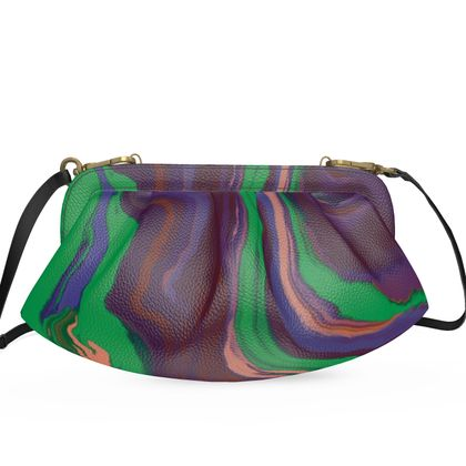 Large Pleated Soft Frame Bag - Colours of Saturn Marble Pattern 2