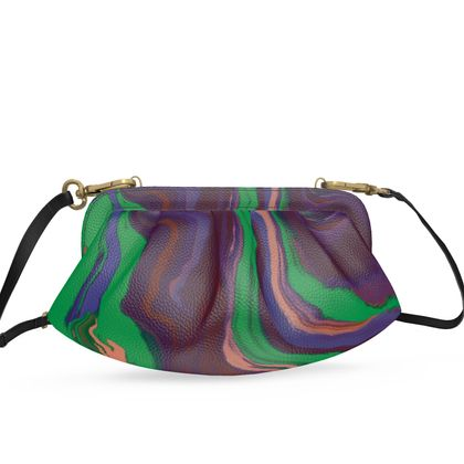 Small Pleated Soft Frame Bag - Colours of Saturn Marble Pattern 2
