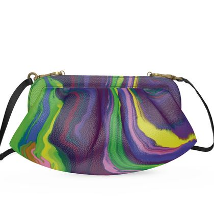 Large Pleated Soft Frame Bag - Colours of Saturn Marble Pattern 3