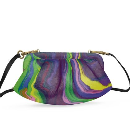 Small Pleated Soft Frame Bag - Colours of Saturn Marble Pattern 3
