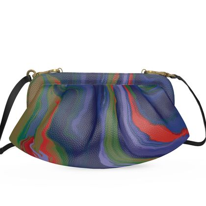 Large Pleated Soft Frame Bag - Colours of Saturn Marble Pattern 4
