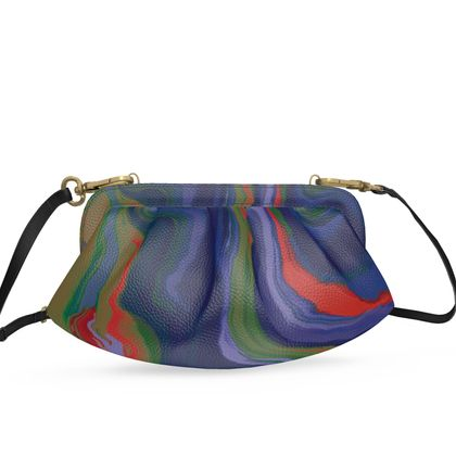 Small Pleated Soft Frame Bag - Colours of Saturn Marble Pattern 4