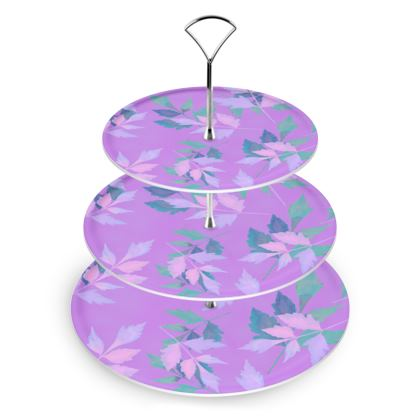 Cake Stand, Mauve, Azure, Leaf  Slipstream  Mauve Haze