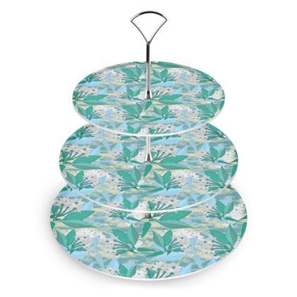 Cake Stand Turquoise, Green, Botany  Jasmine  Turquoise Pool