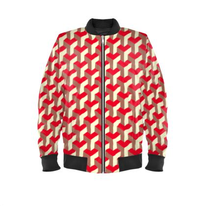 Heart in a cube - Mens Bomber Jacket - Abstract geometry, red, contrasting, bright, elegant, statement, futuristic, spectacular, graphic, noble, asymmetrical, effective, stylish gift - design by Tiana Lofd