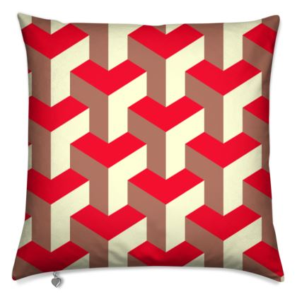 Heart in a cube - Cushions - Abstract geometry, red, contrasting, bright, elegant, statement, futuristic, spectacular, graphic, noble, asymmetrical, effective, stylish gift - design by Tiana Lofd
