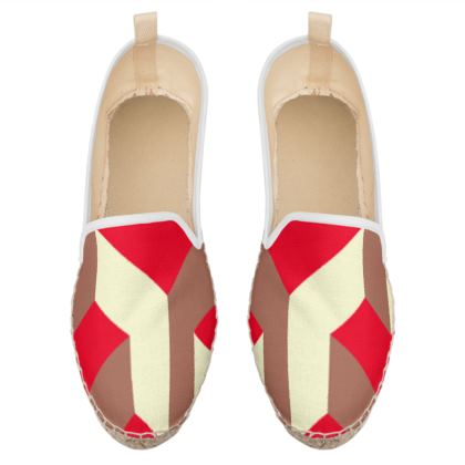 Heart in a cube - Loafer Espadrilles - Abstract geometry, red, contrasting, bright, elegant, statement, futuristic, spectacular, graphic, noble, asymmetrical, effective, stylish gift - design by Tiana Lofd