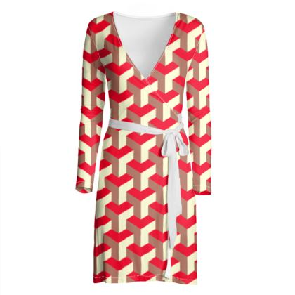 Heart in a cube - Wrap Dress - Abstract geometry, red, contrasting, bright, elegant, statement, futuristic, spectacular, graphic, noble, asymmetrical, effective, stylish gift - design by Tiana Lofd