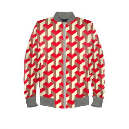 Heart in a cube - Ladies Bomber Jacket - Abstract geometry, red, contrasting, bright, elegant, statement, futuristic, spectacular, graphic, noble, asymmetrical, effective, stylish gift - design by Tiana Lofd