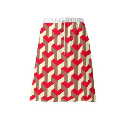 Heart in a cube - Skirt - Abstract geometry, red, contrasting, bright, elegant, statement, futuristic, spectacular, graphic, noble, asymmetrical, effective, stylish gift - design by Tiana Lofd