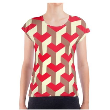 Heart in a cube - Ladies T Shirt - Abstract geometry, red, contrasting, bright, elegant, statement, futuristic, spectacular, graphic, noble, asymmetrical, effective, stylish gift - design by Tiana Lofd
