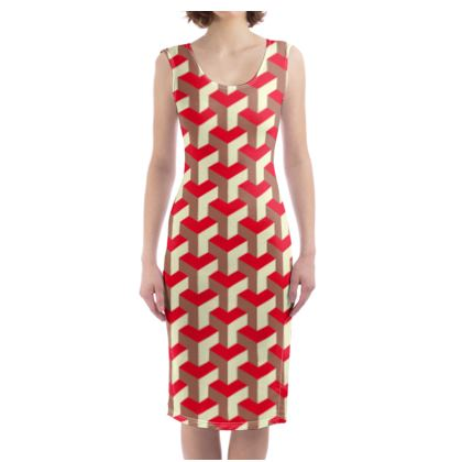 Heart in a cube - Bodycon Dress - Abstract geometry, red, contrasting, bright, elegant, statement, futuristic, spectacular, graphic, noble, asymmetrical, effective, stylish gift - design by Tiana Lofd