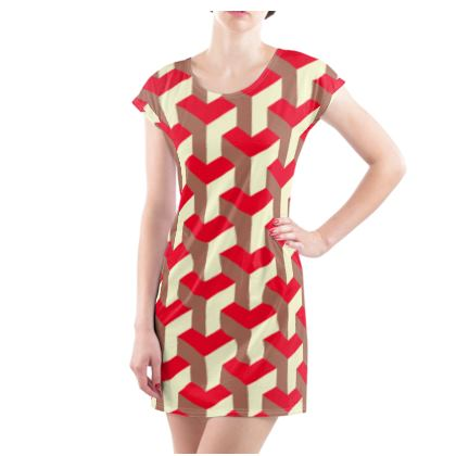 Heart in a cube - Ladies Tunic T Shirt - Abstract geometry, red, contrasting, bright, elegant, statement, futuristic, spectacular, graphic, noble, asymmetrical, effective, stylish gift - design by Tiana Lofd