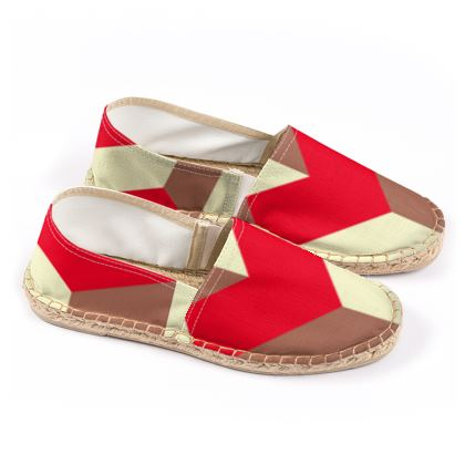 Heart in a cube - Espadrilles - Abstract geometry, red, contrasting, bright, elegant, statement, futuristic, spectacular, graphic, noble, asymmetrical, effective, stylish gift - design by Tiana Lofd
