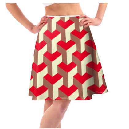 Heart in a cube - Flared Skirt - Abstract geometry, red, contrasting, bright, elegant, statement, futuristic, spectacular, graphic, noble, asymmetrical, effective, stylish gift - design by Tiana Lofd