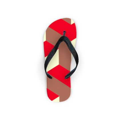 Heart in a cube - Flip Flops - Abstract geometry, red, contrasting, bright, elegant, statement, futuristic, spectacular, graphic, noble, asymmetrical, effective, stylish gift - design by Tiana Lofd