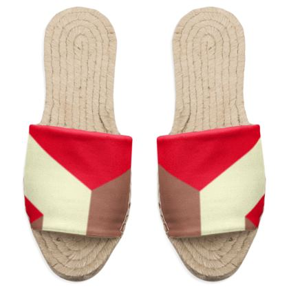Heart in a cube - Sandal Espadrilles - Abstract geometry, red, contrasting, bright, elegant, statement, futuristic, spectacular, graphic, noble, asymmetrical, effective, stylish gift - design by Tiana Lofd