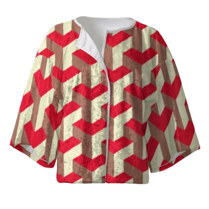 Heart in a cube - Kimono Jacket - Abstract geometry, red, contrasting, bright, elegant, statement, futuristic, spectacular, graphic, noble, asymmetrical, effective, stylish gift - design by Tiana Lofd