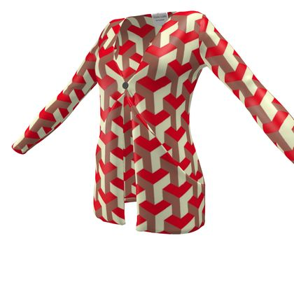 Heart in a cube - Ladies Cardigan With Pockets - Abstract geometry, red, contrasting, bright, elegant, statement, futuristic, spectacular, graphic, noble, asymmetrical, effective, stylish gift - design by Tiana Lofd