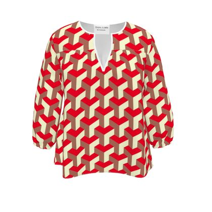 Heart in a cube - Womens Blouse - Abstract geometry, red, contrasting, bright, elegant, statement, futuristic, spectacular, graphic, noble, asymmetrical, effective, stylish gift - design by Tiana Lofd