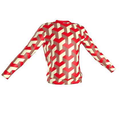 Heart in a cube - Sweatshirt - Abstract geometry, red, contrasting, bright, elegant, statement, futuristic, spectacular, graphic, noble, asymmetrical, effective, stylish gift - design by Tiana Lofd