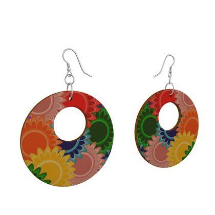 Wooden Earrings Floral Pattern